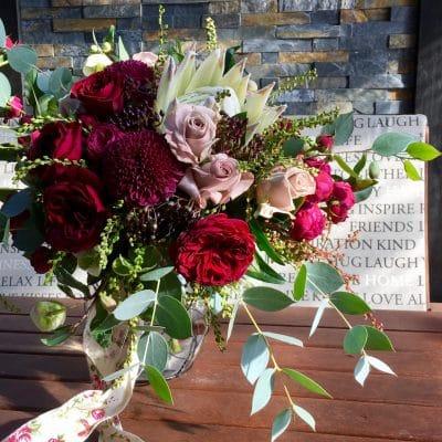 Rich vibrant bouquet of gorgeous flowers