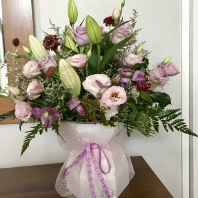 """ New baby girl"" bouquet in waterbox"