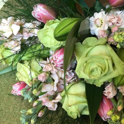 Pretty pastel pink and green flowers