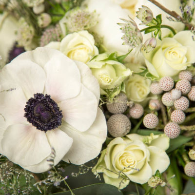 Close-up of a flower arrangement with white anemones, roses and foliage.
