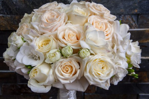 Bridal round bouquet of roses