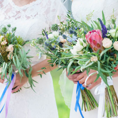 Bridal posy bouquet showcasing a garden style bouquet