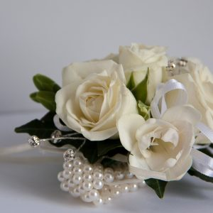 School ball flowers - Wrist corsage on ivory pearl bracelet