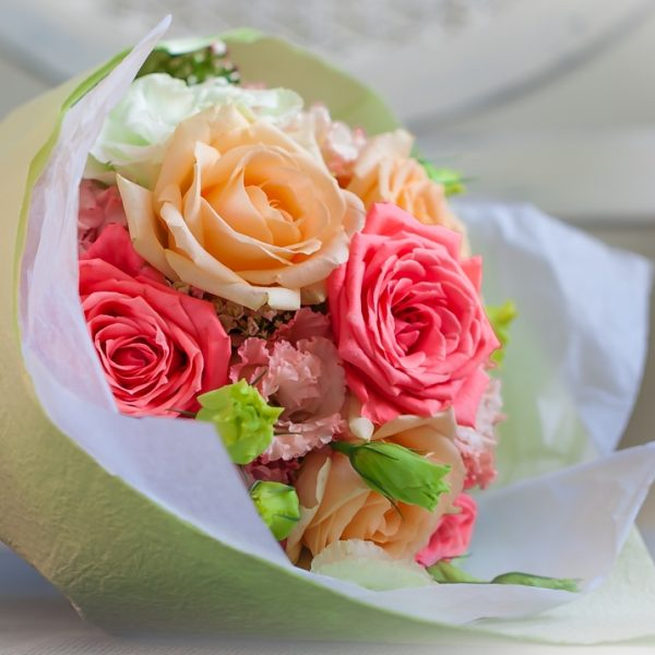 Soft and Pastel colours of roses, lisianthus and foliage