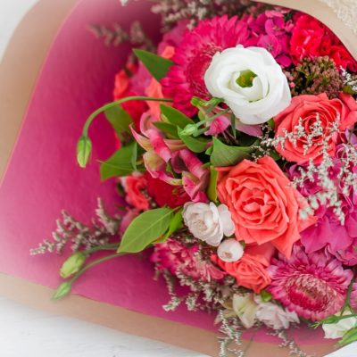 Beautifully wrapped bouquets have a Flower care instruction card attached.