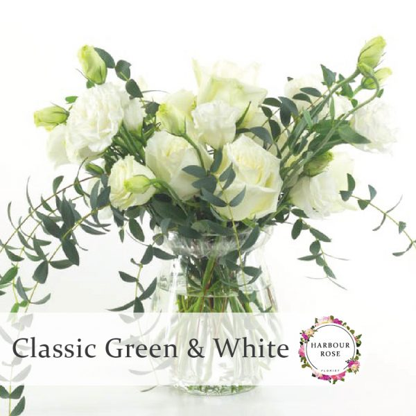 White roses and Lisianthus with foliage