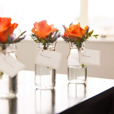 Buttonholes for groom and groomsmen