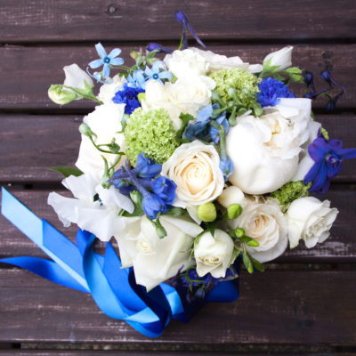 Showing Bridesnaids Bouquet with trailing ribbons