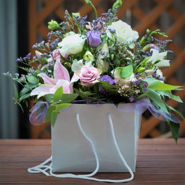Garden lover's Flower arrangement in a gift bag
