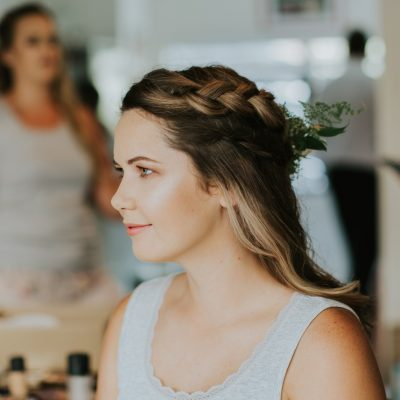 Beutiful bridesmaid with hair flowers
