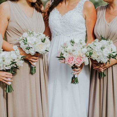 Bouquets for bride and her bridesmaids