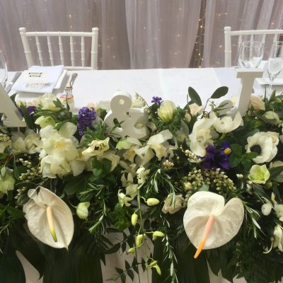 Close up view of Bridal table flowers