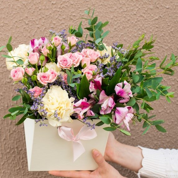 Large size flower posy box with pretty pink and lilac bouquet
