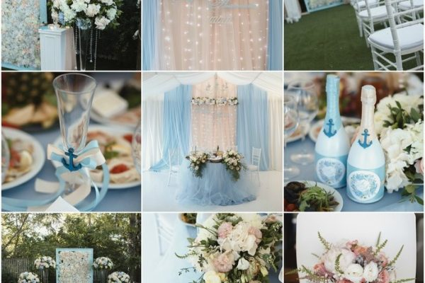 Beautiful pale blue and blush pink wedding colour palette
