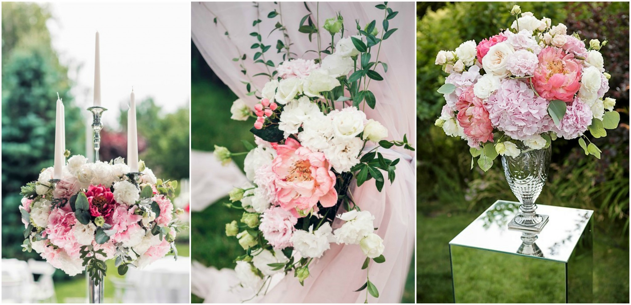 3 images of Wedding Flowers for an Auckland reception, in a vase, with candels and with tie back