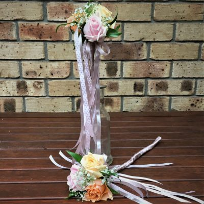 Pretty flower wands with trailing ribbons