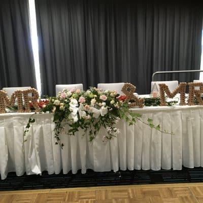 Bridal table floral centrepiece