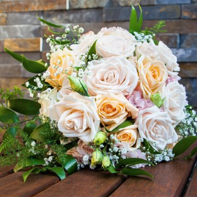 Soft peach and pinks in this bridal bouquet