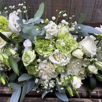 Classic bridesmaid's bouquets in mint green and white colour palette