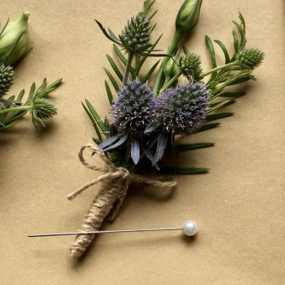 Rustic buttonhole with twine binding