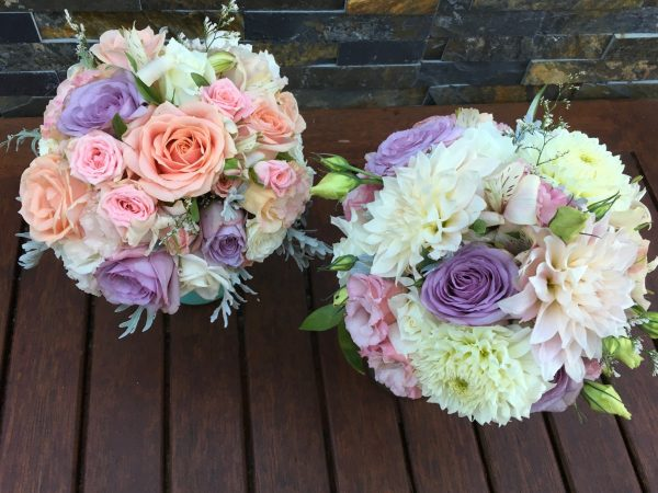 Classic posy style bouquets for Brittany's wedding