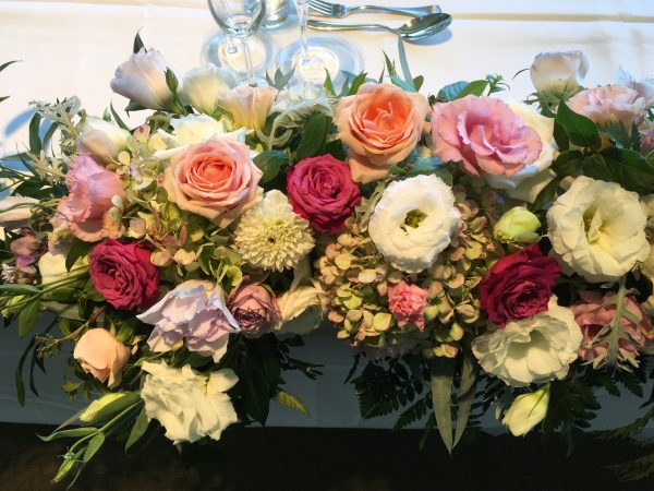Close up of bridal table flowers