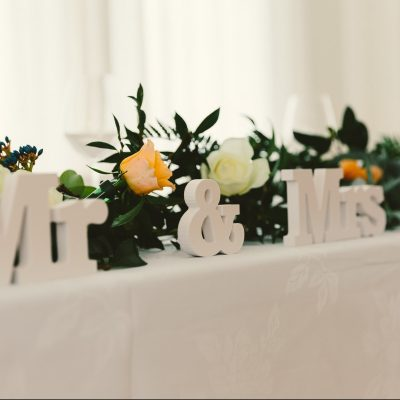 Wedding table with wooden letters