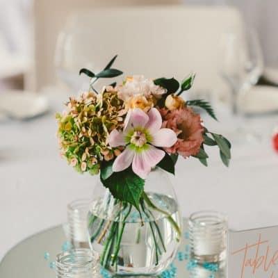 Wedding table flowers in vase