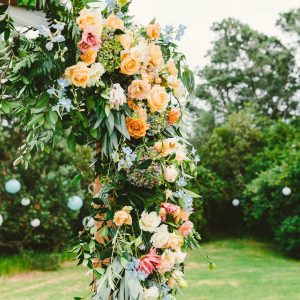 Close up view of Wedding flower arch