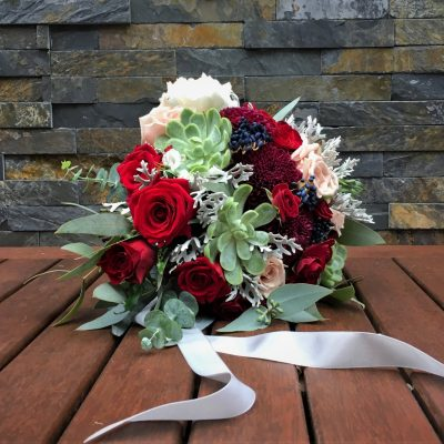Bridal bouquet with satin ribbon