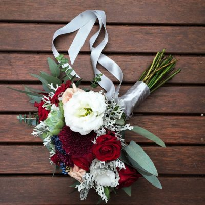 Bride's bouquet with satin ribbon