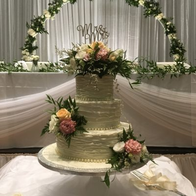 Wedding florals on wedding cake