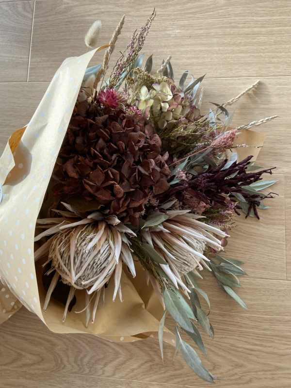 Dried flower bouquet wrapped
